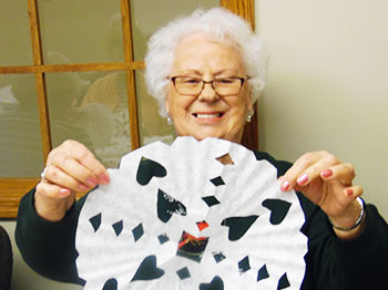 Trinity Village Makes Snowflakes For January Craft