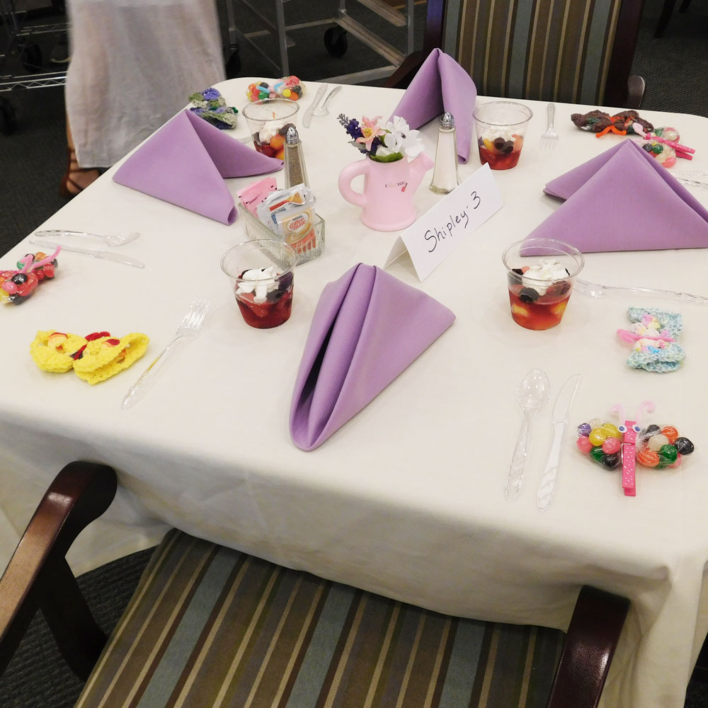 A place setting decorated by residents at Clark Jeary in Lincoln, Nebraska for their annual Mother's Day Brunch