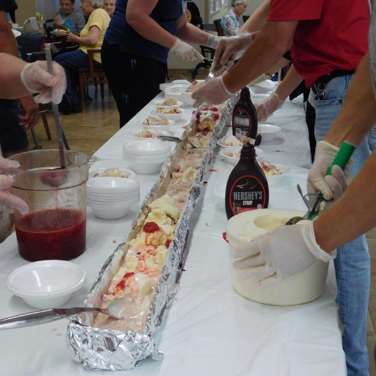 Staff at Clark Jeary Senior Living Community put together a gutter banana split for residents.